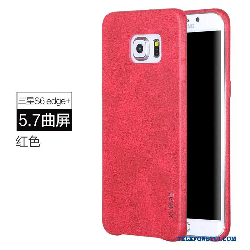 Futerał Dla Samsung Galaxy S6 Edge + Czerwony Etui Etui Na Telefon Skórzany  Gwiazda Anti- 7769f4383ff1